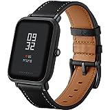 Kartice Compatible Amazfit Bip Band,Huami Amazfit Bip Bands Genuine Leather Strap Replacement Buckle Strap Wrist Band for Amazfit Bip Smartwatch. (Black)
