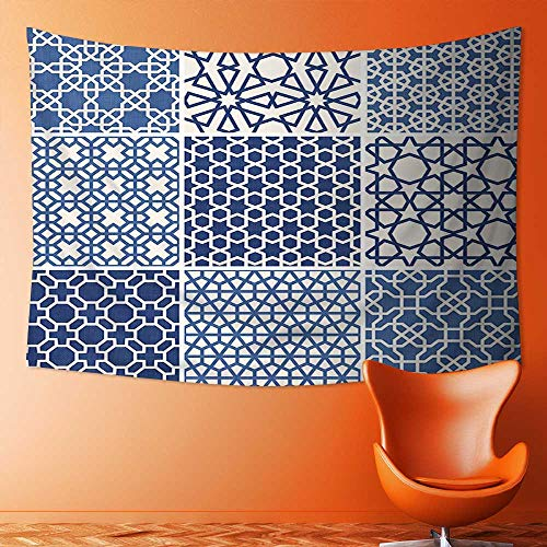 Wall Hanging Tapestries Wall Art Tapestries Wall Tapestries Collection Arabesque Islamic Motifs with Geometric Lines Asian Ethnic Muslim Ottoman Element Blue Tapestry Dorm Decor Tapestry by L-QN