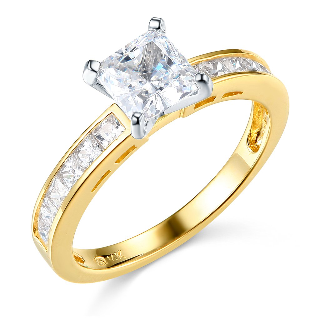 14k Yellow Gold Engagement Ring and Wedding Band 2 Piece Set - Size 5