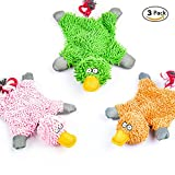Image of 3 Pack Squeaky Dog Toys ,Plush Funny Duck Rope Chew Animal Puppy Toys for Small Medium Dogs Cat
