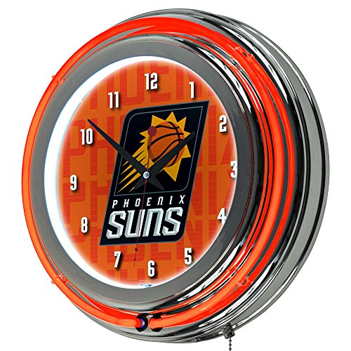 Trademark Gameroom NBA1400-PS3 NBA Chrome Double Rung Neon Clock - City - Pheonix Suns by Trademark Global