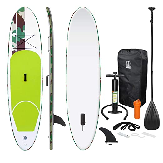 ECD Germany Tabla Hinchable Paddle Surf/SUP - Stand up paddle board - 308 x 76 x 10 cm - verde -PVC- varios modelos - Incluye Bomba, Mochila, Aleta ...