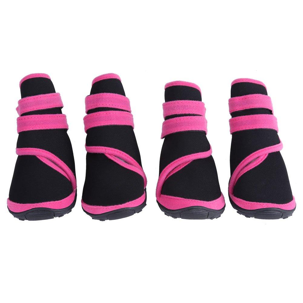 Fdit 4pcs Botas para Perros Mascotas Impermeable Antideslizante Cachorro Zapatos al Aire Libre de Invierno Protectores de Pata para Caminar Senderismo Viajes Nieve(Rojo L)