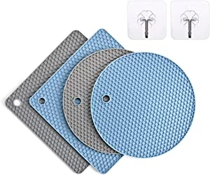 Silicone Trivet Mats,4 Packs Grey & Blue Hot Pot Holders,Heat Resistant Mats for Oven,Hot Pot(2 Squared + 2 Round Pot Holders)