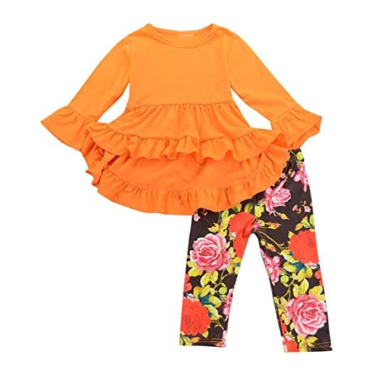43bbe8e44335 Toddler Girls Ruffle Dress Shirt Tops & Floral Legging Pants Princess  Outfits Set (Orange,
