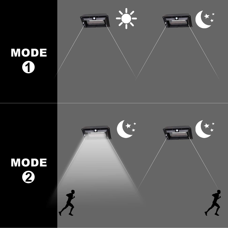 [1 Pack] Solar Gutter Lights, 30 LED PIR Motion Sensor Solar Lights, T-SUNRISE Waterproof Security Lamp for Outside Garage Door,Wall,Stairs Anywhere Safety Lite with Bracket (6000K-Black) by T-SUNRISE (Image #6)