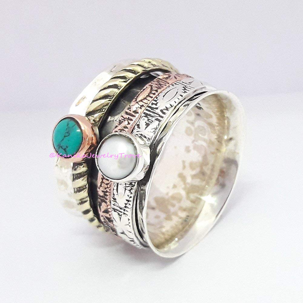 Anxiety Ring Spinner Jewelry Handmade Ring Girls Silver Ring Boho Ring Yoga Ring Meditation Ring Silver Spinner Ring Women Ring