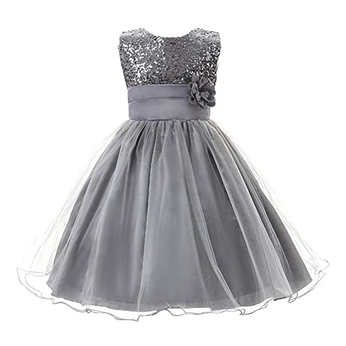 Eagsouni Girls Sequinned Dress Flower Princess Sleeveless Formal Birthday Party Wedding Bridesmaid Tulle Dresses