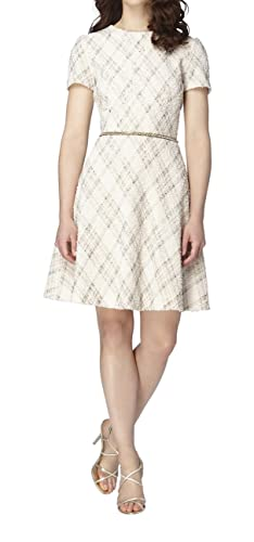 Tahari by Arthur S. Levine Fit-And-Flare Bouclé Dress, Ivory/White/Gold