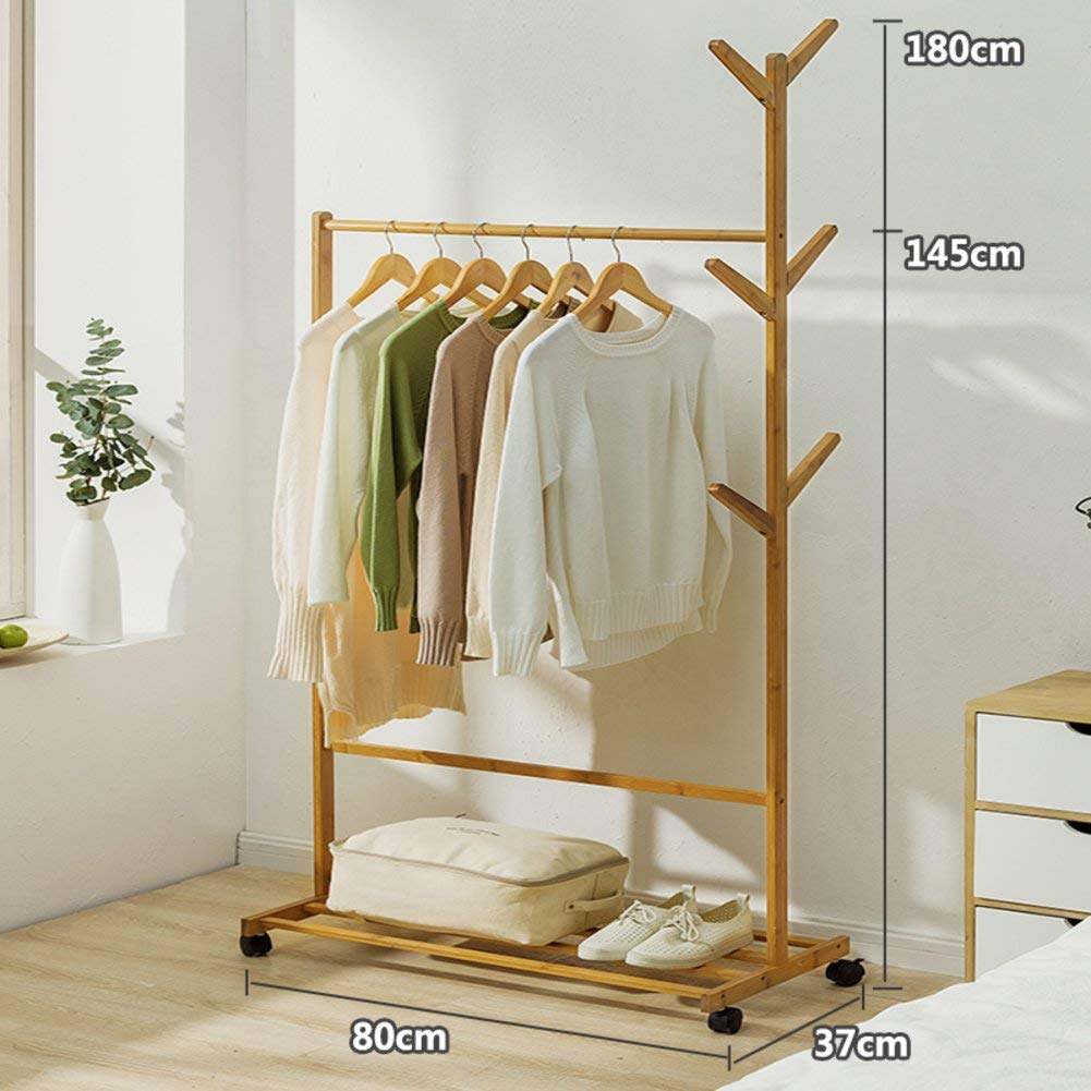 A DYR Coat Hanger in Solid Wood, Floor Drying Rack Simple Coat Hanger Indoor Coat Hanger Clothes Hanger-B