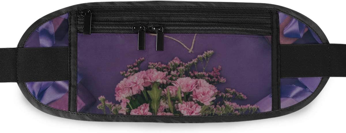 Travel Waist Pack,travel Pocket With Adjustable Belt Bouquet Beautiful Pink Flowers Heartshaped Rope Running Lumbar Pack For Travel Outdoor Sports