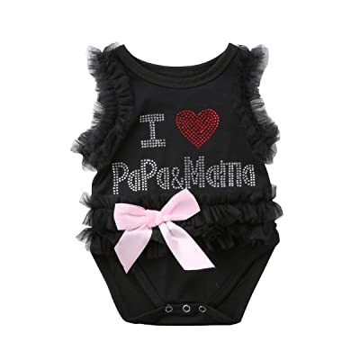 96647a18c57e Mornbaby Baby Girl Tulle Ruffles Romper Jumpsuit I Love Papa   Mama Letter Sleeveless  Bodysuit Outfit Clothing