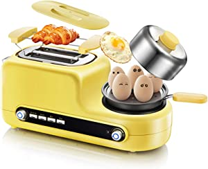 N/D Toaster Stainless Steel 2-Slice, Toaster with Slide-Out Crumb Tray, Egg Poacher Function Baking, Boiled Eggs, Fried Eggs, Heating (Yellow)