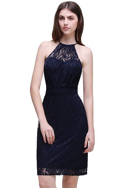 Babyonlinedress® 50s Damen Kleider Spitzenkleid Schulterfrei Ohne Arm  knielang festlich Cocktail Abendkleid Dunkel Blau 34 06b37b6359