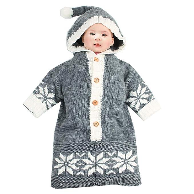 Navidad Bebe Crochet, ❤ Zolimx Bebé Infantil Niños Copo de Nieve Manta Swaddle Saco