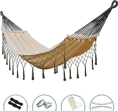 WJH Hamaca de Lona la Borla, Hamacas Colgante Ligero, Respirable Rápido-sequedad Acampar Mochilero Senderismo Jardín Patio-Blanco 200x100cm(79x39inch): Amazon.es: Deportes y aire libre