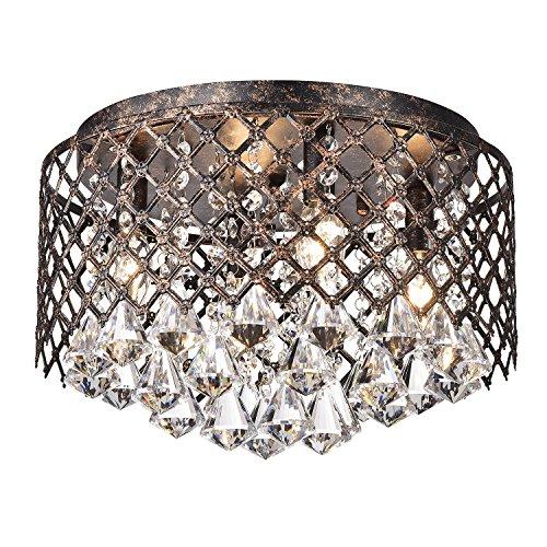 Edvivi 4-Light Lattice Antique Copper and Crystal Flushmount Chandelier Glam Lighting