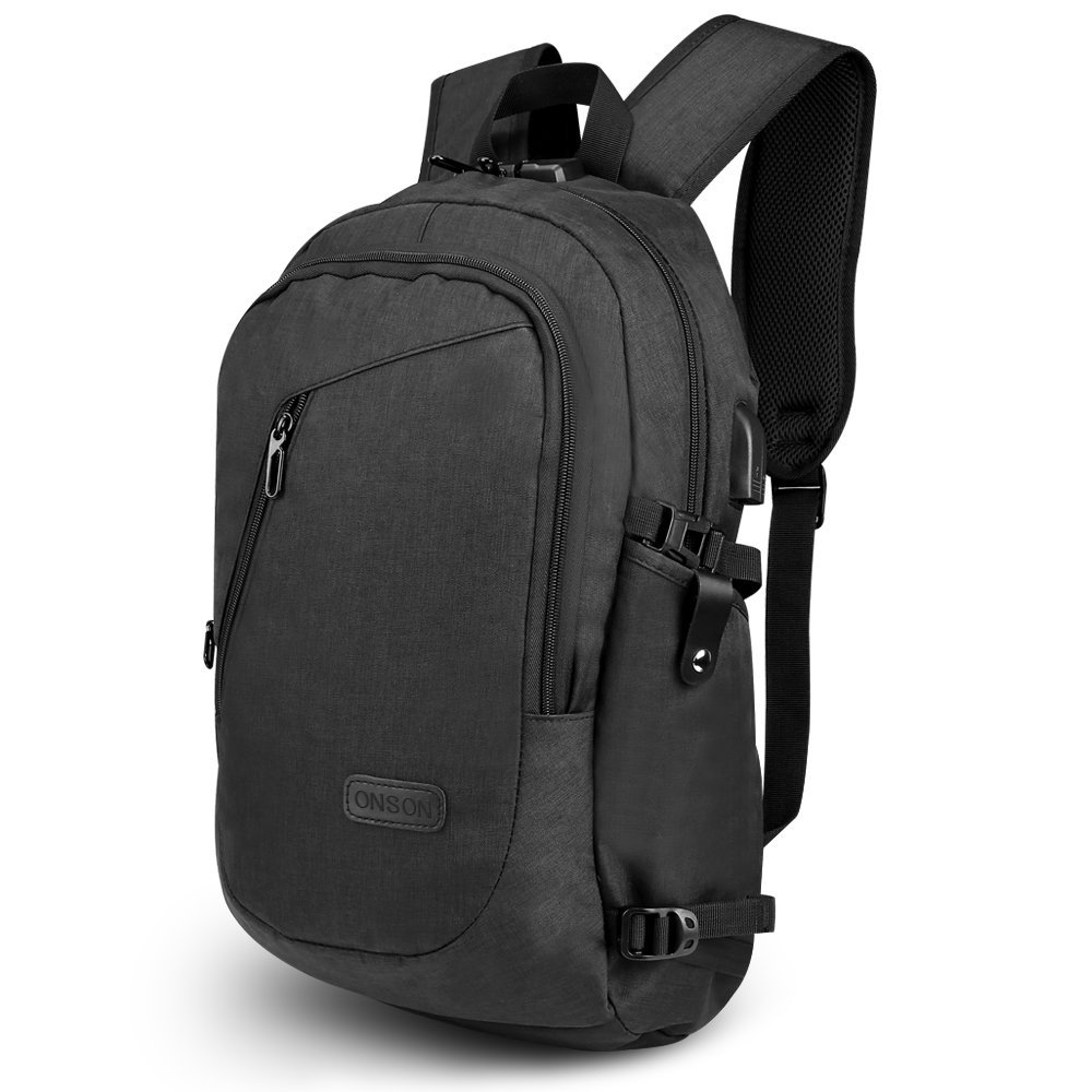 ONSON Anti Theft Business Laptop Backpack with USB Charging Port,Water Resistant Backpack for Men&Women,Fits 15.6 inch and below Laptop/Notebook(Black)
