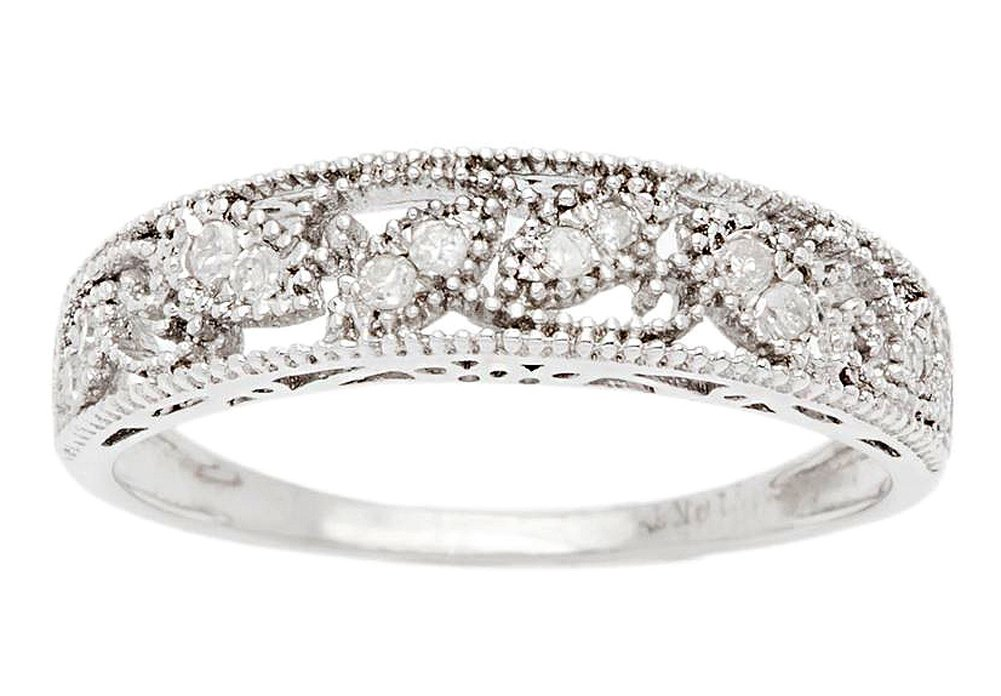 10k Rhodium-Plated White Gold Vintage-Style Diamond Anniversary Band (0.08 cttw, I-J, I2-I3) by Instagems