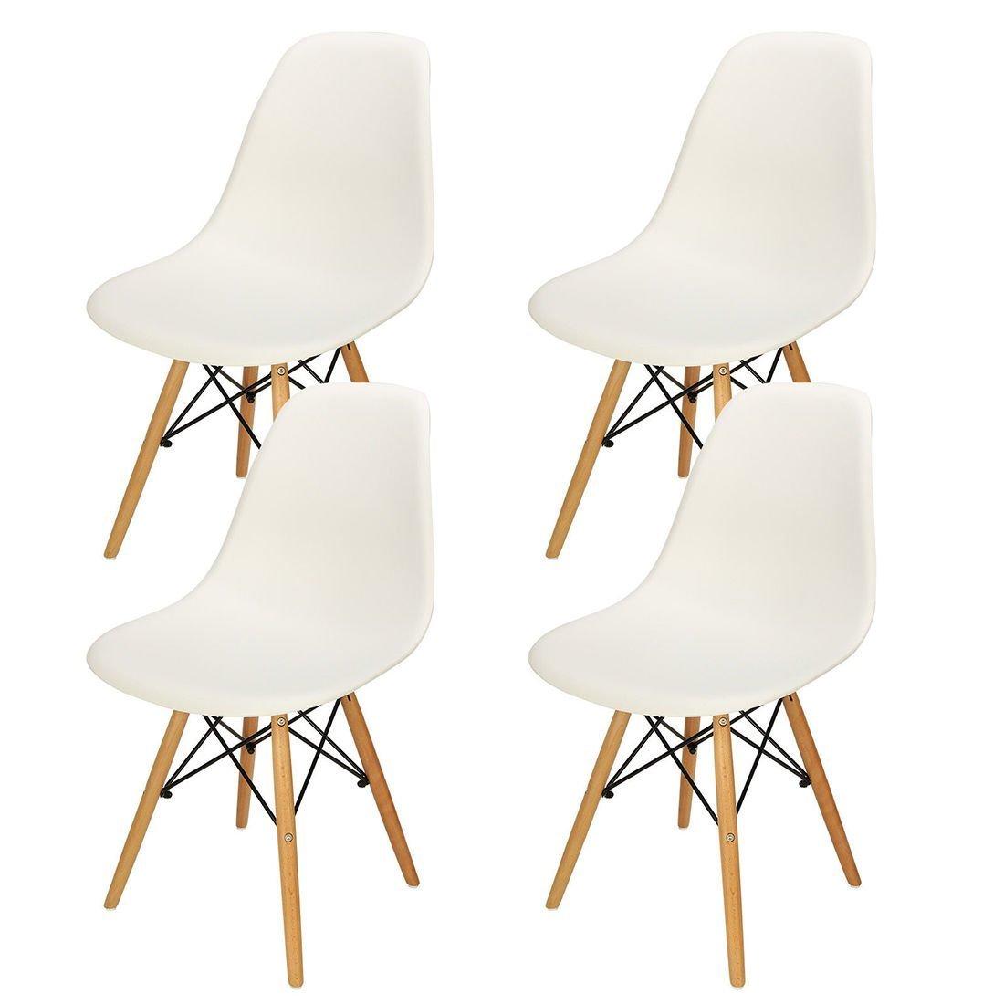 Joolihome 4x Eiffel sedia in plastica legno retro bianco moderno mobili per salotto, scrivania, patio, terrazza, ufficio, cucina, lounge, caffetterie e altro, White, 1 chair