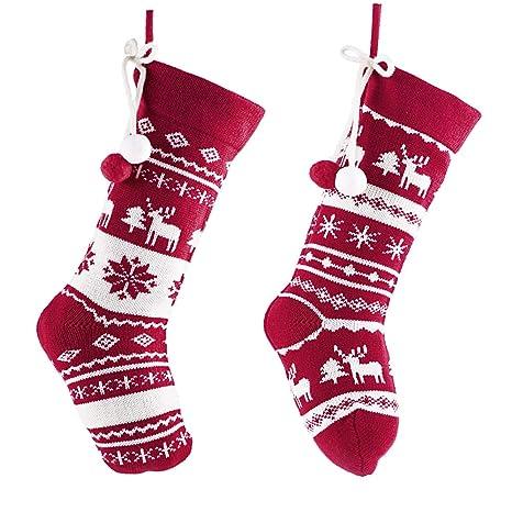 Valery Madelyn 44cm 2pcs Calcetines de Navidad Rojas y Blancas, Medias de Navidad con Tarjeta
