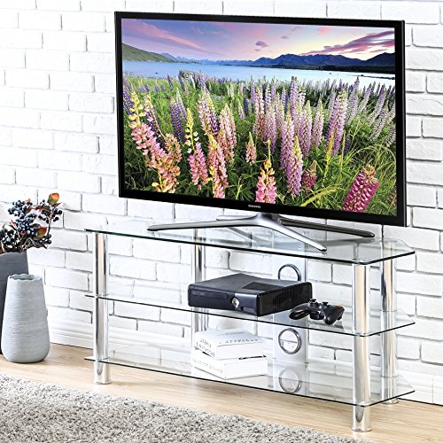 FITUEYES Classic Clear Tempered Glass TV stand suit for up to 46-inch LCD LED OLED TVS,FTS310501GT by Fitueyes
