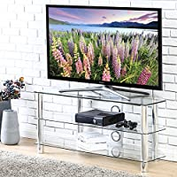 FITUEYES Classic Clear Tempered Glass TV Stand for up to 50 inch LED LCD Oled TV FTS310501GT