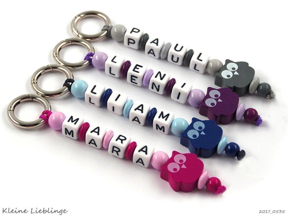 Schlüsselanhänger mit Namen Kinder - Erwachsene - Taschenbaumler - Eule - Schlüsselring - GRATIS Versand - verschiedene Farben - Schlüsselanhänger mit Gravur
