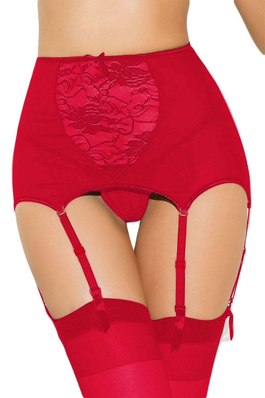 FuYang Sexy Womens Lace Hollow Babydoll High Waist Garter Belt + G-String Thong Set Suspender Set
