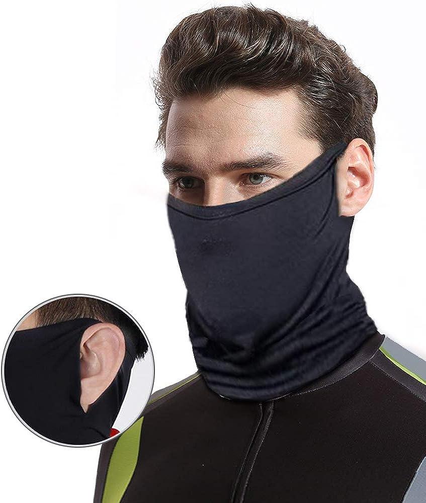 Braga Cuello Moto para Hombre Mujer Negro Multifuncionale calentador cuello Tube Bufanda bandana Verano Resistente al viento UV Protección contra el polvo cara Cubierta Pasamontañas para ciclismo