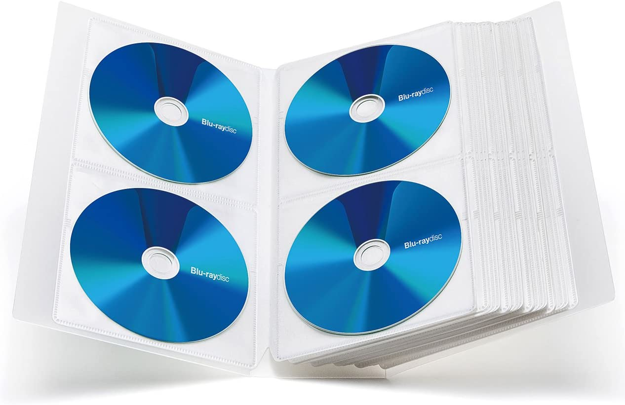 Office Polypropylene Protective Blu-ray Wallet Holder Clear Home SANWA Binder Booklet with Customizable Index for Car 104 Large Capacity File CD Case Portable DVD//VCD Storage Japan Brand