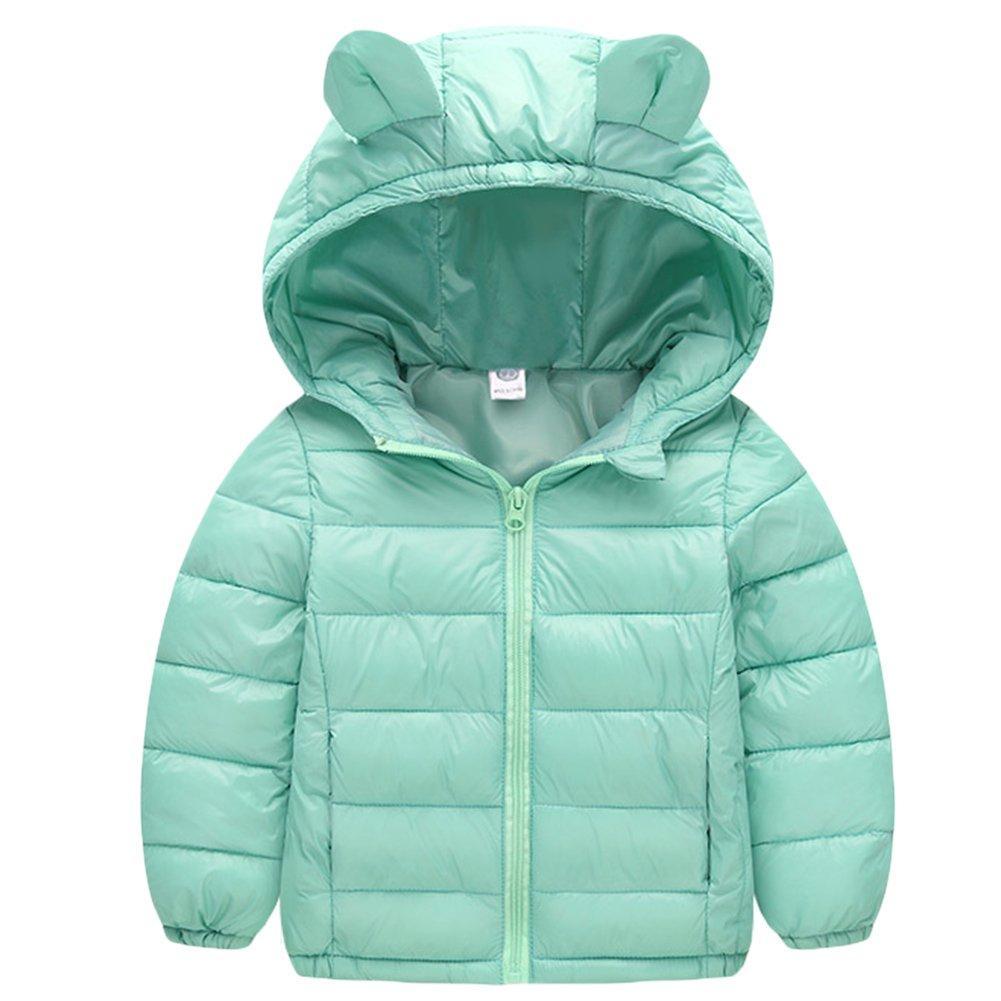 Baby Boys Girls Winter Puffer Down Jacket Kids Ear Warm Coat Thicken Hoodie Outwear Lightweight LightBlue 90