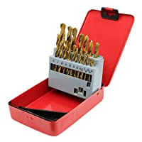 Monster & Master Titanium Plated Drill Bit Set, 21-Piece, High-Speed Steel Gold Drill Bits with 135 Degree Split Point Tip, 1/16