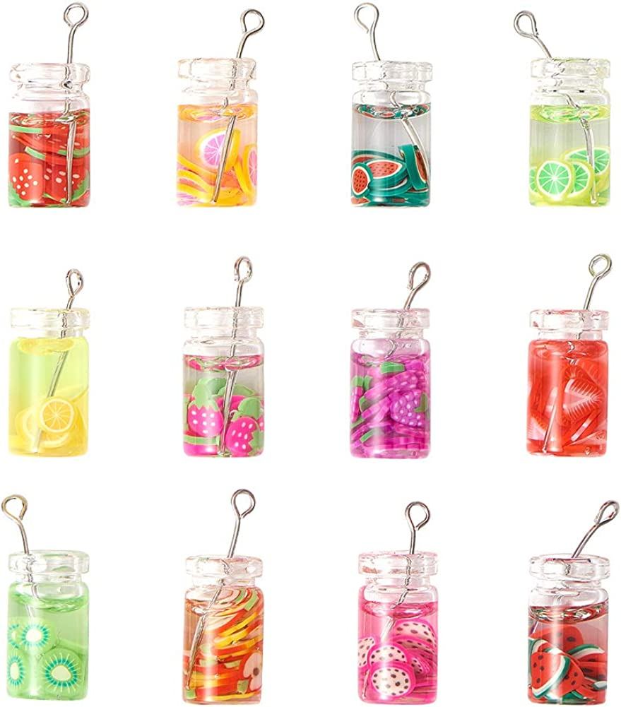 (40/50/200pcs) Mini Glass/Resin Bottle Charms Pendants with Resin Inside Imitation Pearl Milk Boba Fruit Juice Cup with Straw Bubble Tea Jar for Christmas Jewelry Making Crafts DIY Design