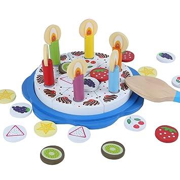 Bjulian Holz Geburtstagstorte Schneideset 32 Teilig Für Kinder Ab 1