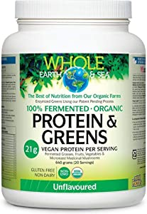Whole Earth & Sea Fermented Organic Protein & Greens - Unflavored Natural Factors 1.41 lb Powder