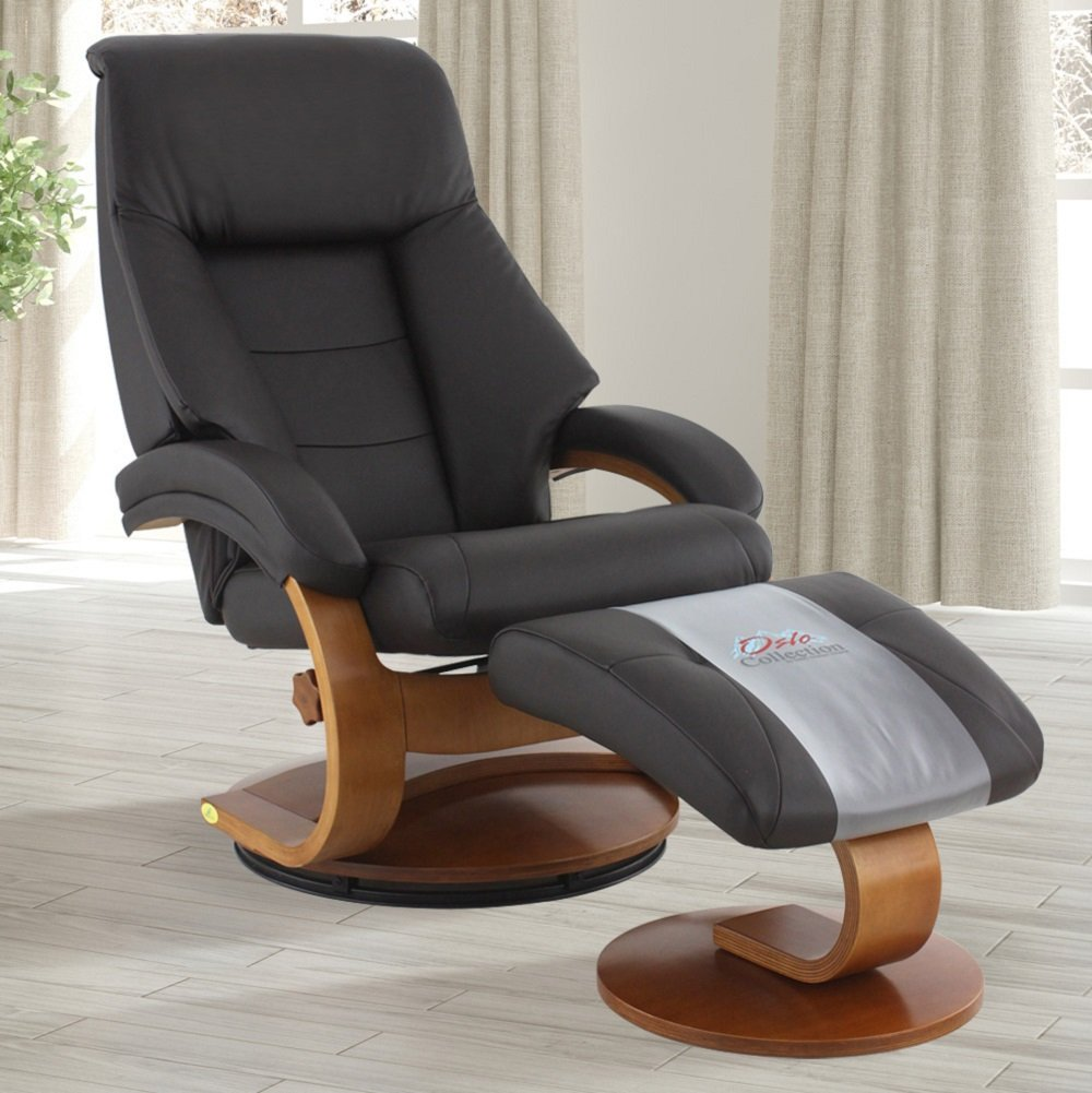 1. Oslo Collection Mac Motion Leather Recliner with Matching Ottoman, Expresso and Walnut Finish