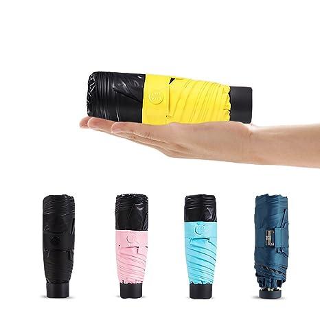 20ab2f37979b Windproof Mini Umbrella Sun Umbrellas Lightweight Travel Compact Folding  99% UV Protection Parasol Small Rain Umbrella UPF 50+ (Yellow)