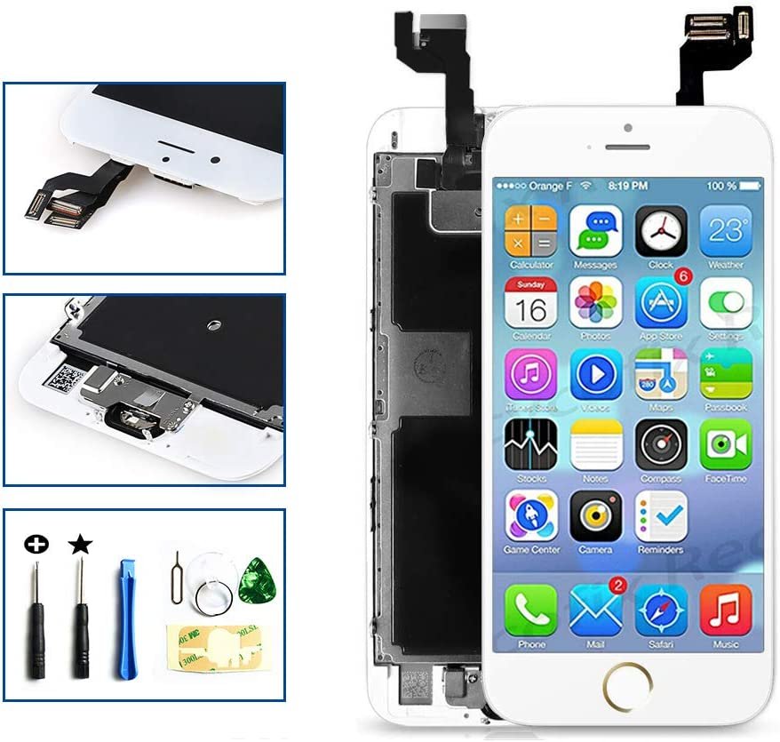 GULEEK for iPhone 6 Screen Replacement White Touch Display LCD Digitizer Full Assembly with Front Camera,Proximity Sensor,Ear Speaker and Home Button Including Repair Tool and Screen Protector