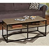Simple Living - Modern Rectangular Accent Coffee Table with Black Metal Frames and Reclaimed Wood Look Finish Top (For Living Room, Guest Room, Bedroom)
