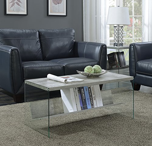 Convenience Concepts SoHo Coffee Table, Faux Birch / Glass (Shelf Glass Soho)