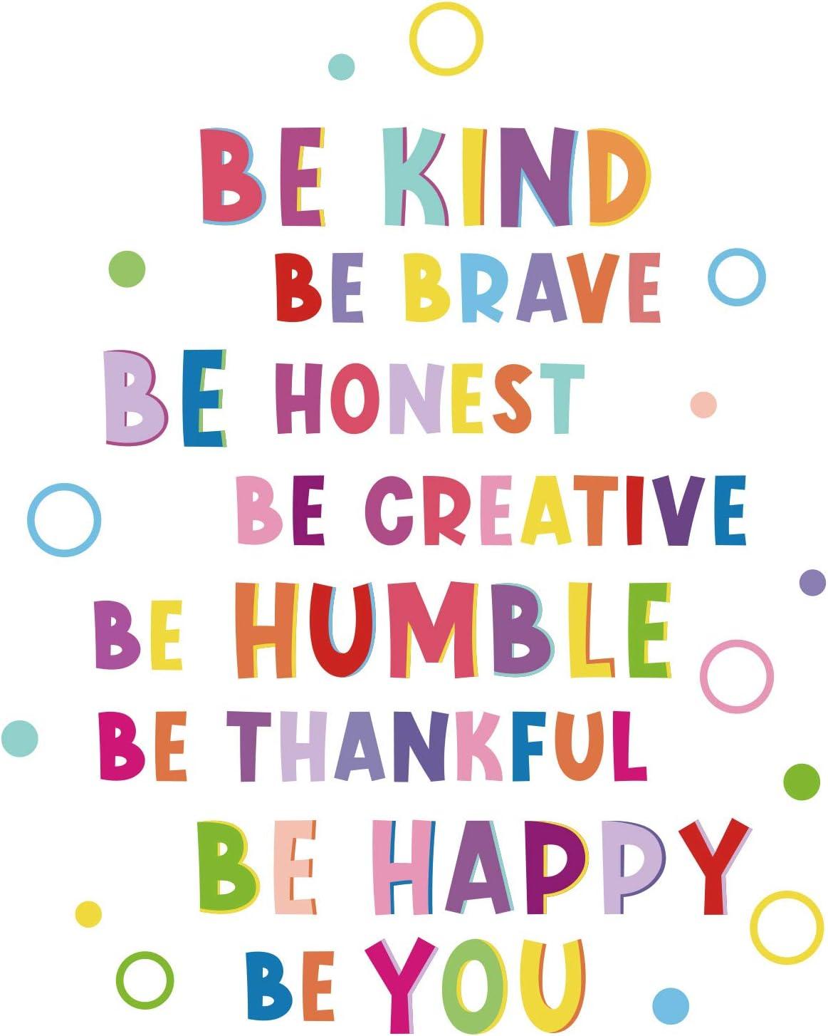 Be Brave Sticker Mural Inspir/é Color/é Sticker Phrases de Motivation Autocollant de Citation de Lettrage Inspirant Be Thankful Be Creative D/écalcomanies pour D/écoration de Chambre dEnfant P/épini/ère