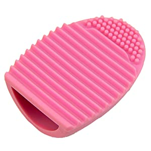 HeroNeo Cleaning MakeUp Washing Brush Silica Glove Scrubber Board Cosmetic Clean Tools (Pink)
