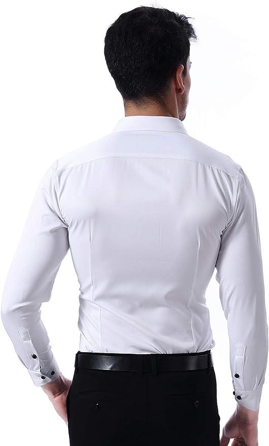 KWESOR Chemise Homme habill/ées Slim Fit Manches Longues /Élastique Uni