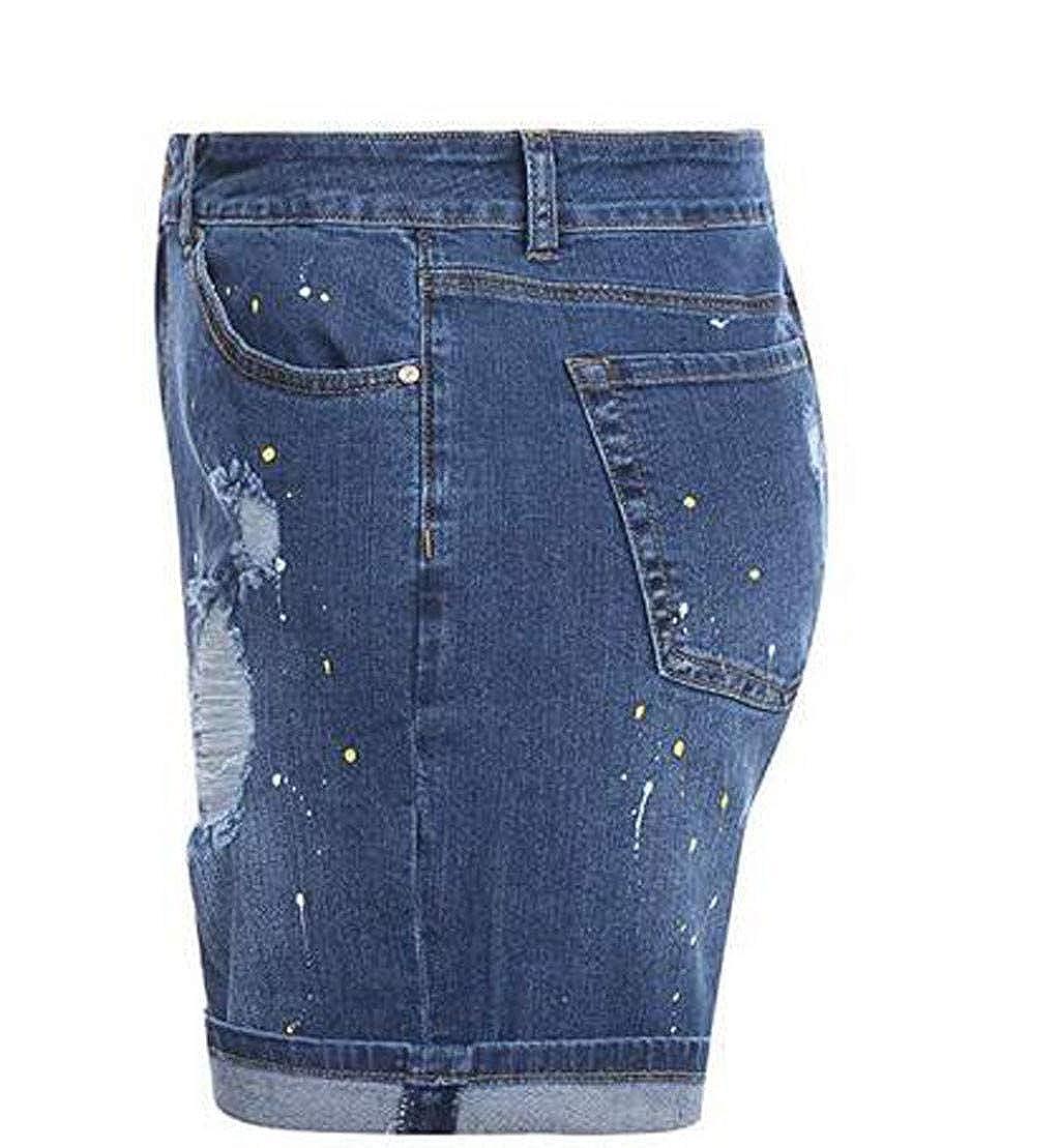 Roope Mujeres Elástico Destroyed Agujero Pantalones Cortos ...