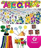 74 Pc - Luau Tropical Party Decorations Kit /Decor / 12 Hibiscus Balloons/ 12 Hibiscus Straws/ 1 Hibiscus Tablecloth/ 12 Food Picks/ 12 Poly Leis/ 12 Hibiscus Lanterns/ 12 Tabletop Decorations/ 1 Aloha Banner