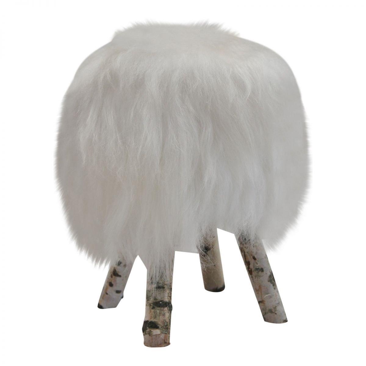 peau de mouton - Tabouret ISLANDE Betula Manteau tabourets Tabouret - blanc