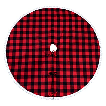 aytai buffalo plaid christmas tree skirt 48 inch red and black xmas tree skirts with pom - Red And Black Plaid Christmas Decor