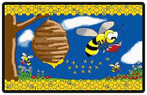 Flagship Carpets FE140-44A Busy Bee with Letters Rug, Help Kids Understand Upper and Lowercase Letters, Children's Classroom Educational Carpet, 7'6'' x 12', 90'' Length, 144'' Width, Blue/Multi-Color