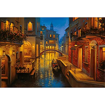 JW-MZPT Wooden Puzzle, 500/1000/1500/2000/3000/4000/5000 / 6000Pcs, Creative Beautiful Scenery Venice Boat: Sports & Outdoors